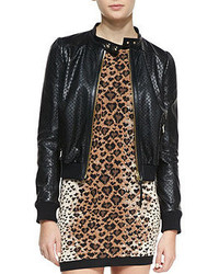 RED Valentino Perforated Stars Leather Bomber Jacket Black