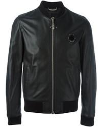 Philipp Plein Leather Bomber Jacket