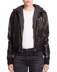 R 13 R13 Layered Jersey Hood Leather Bomber Jacket