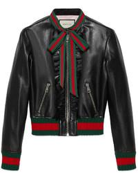 Gucci Ruffle Leather Bomber Jacket