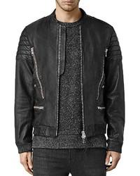 AllSaints Sanderson Leather Regular Fit Moto Bomber Jacket