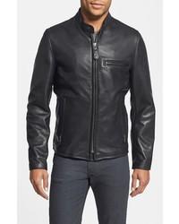 Schott NYC Cafe Racer Slim Fit Waxy Leather Moto Jacket