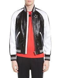 Givenchy Souvenir Leather Satin Bomber Jacket