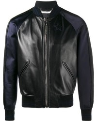 Givenchy Star Logo Leather And Silk Bomber Jacket