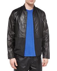 Alexander Wang T By Leathernylon Mix Bomber Jacket Black