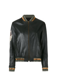 Mr & Mrs Italy Tattoo Style Print Leather Bomber