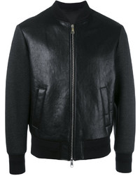 Neil Barrett Tattooed Statue Leather Bomber Jacket
