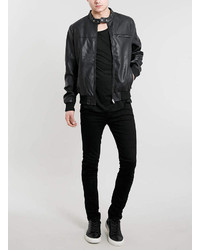 Topman Black Faux Leather Bomber Jacket | Where to buy &amp how to wear