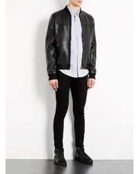 Topman Leather Bomber Jacket - JacketIn