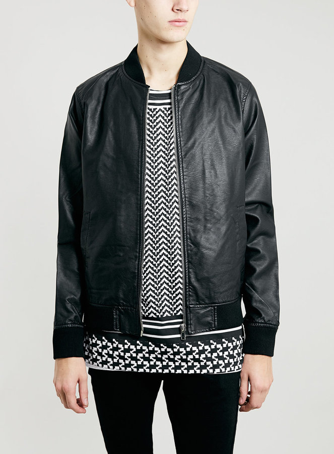 Topman Black Leather Look Bomber Jacket | Where to buy & how to wear