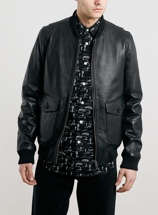 Topman Ltd Laurel Canyon Black Leather Zappa Bomber Jacket | Where ...