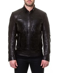 Maceoo Tron Print Leather Jacket