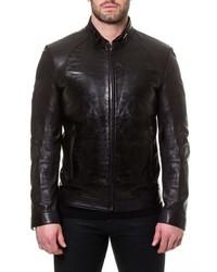 Maceoo Tron Print Leather Jacket