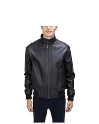 United Face Stand Up Collar Leather Bomber Jacket