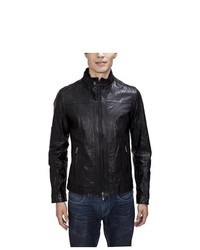 United Face Textured Lambskin Leather Biker Moto Jacket