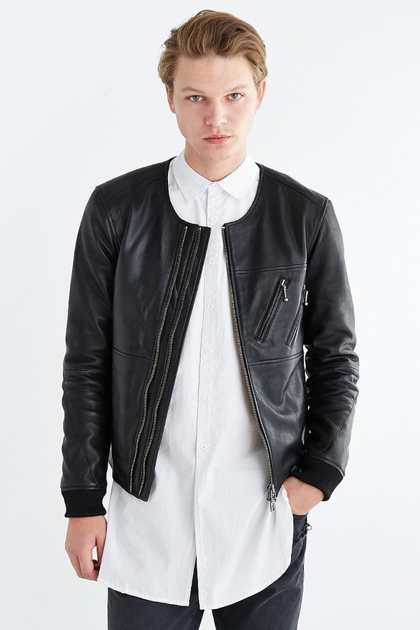 a2335bed9 $279, Urban Outfitters Your Neighbors Jonas Leather Bomber Jacket