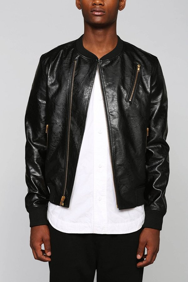 daec4b78543 Urban Outfitters Your Neighbors Mino Faux Leather Bomber Jacket .