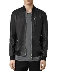 AllSaints Utility Leather Slim Fit Bomber Jacket