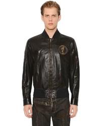 Vintage Flag Iron Leather Bomber Jacket
