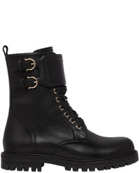 Salvatore Ferragamo 30mm Crotone Leather Combat Boots