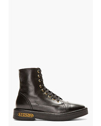 Versus Black Leather Ankle High Boots
