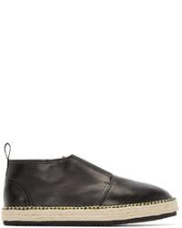 MSGM Black Leather Espadrille Boots