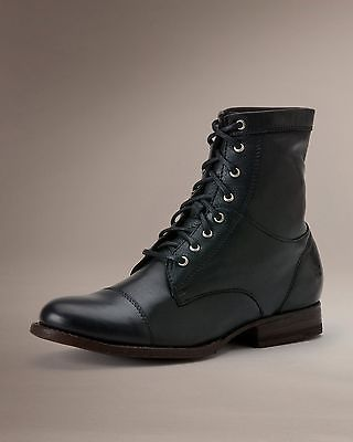 feaa5ed5842 $268, Frye Boots Erin Cap Toe Laceup Work Boot Black Leather Sole 74312 Blk