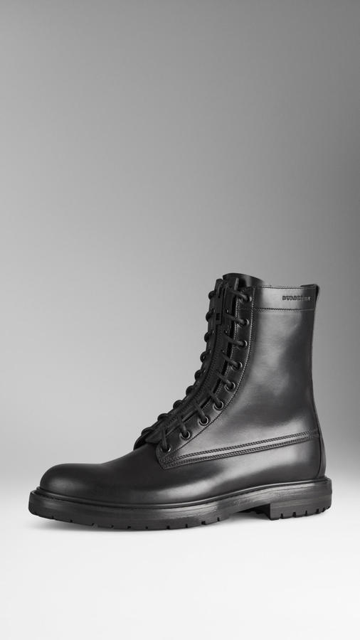 Burberry Zip And Lace Up Leather Military Boots | Where to buy ...