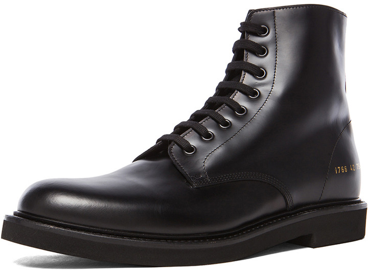 45a0dcb5f3831 ... Common Projects Combat Leather Boots In Black ...