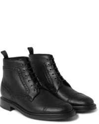 Brioni Full Grain Leather Brogue Boots
