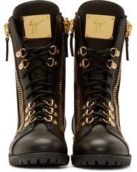 giuseppe zanotti zipper combat boots