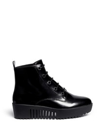 Opening Ceremony Grunge Lace Up Leather Platform Ankle Boots