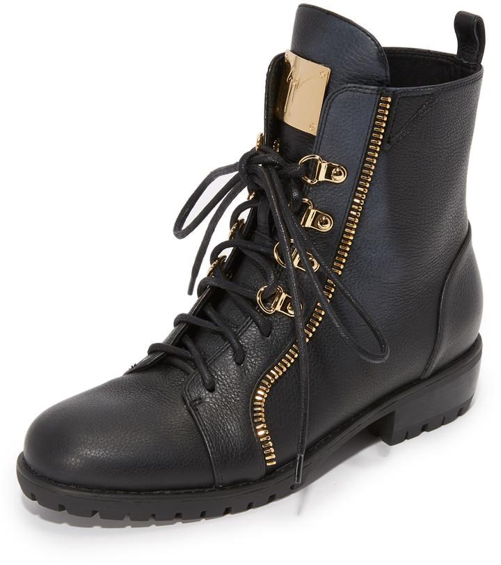 f3249ba4905d8 ... Black Leather Boots Giuseppe Zanotti Leather Combat Boots ...