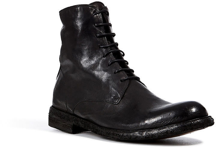 Officine Creative Black Leather Lace-Up Boots wWY9YNQ