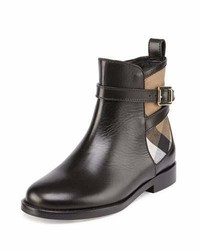 Burberry Richardon Leather And Check Ankle Boot Black Youth