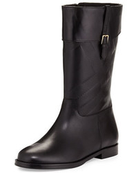 Burberry Weldmill Check Embossed Leather Boot Black 13t 3y