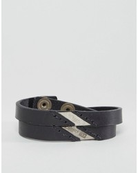 Diesel A Linup Double Leather Bracelet In Black
