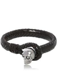 Alexander McQueen Braided Leather Bracelet With Skull