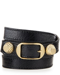 Balenciaga Arena Leather Wrap Bracelet Black