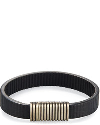John Hardy Bedeg Ridged Linear Leather Station Bracelet Black
