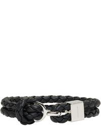 Burberry Black Braided Leather Bracelet