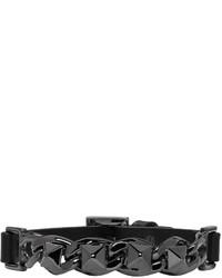 Valentino Black Garavani Leather And Chain Rockstud Bracelet
