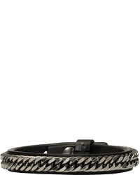 Givenchy Black Leather And Chain Bracelet