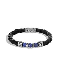 John Hardy Black Leather Classic Chain Bead Bracelet