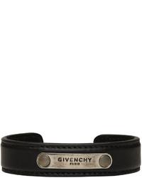 Givenchy Black Leather Logo Bracelet