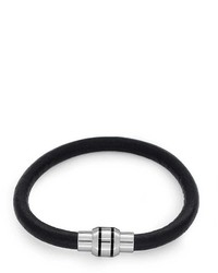 Bling Jewelry Bling Jewelry Black Leather Bracelet Magnetic Stainless Steel 8in