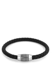 Bling Jewelry Bling Jewelry Black Leather Bracelet Wide Magnetic Stainless Steel Clasp 75in