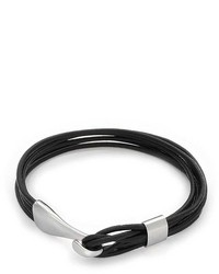 Bling Jewelry Bling Jewelry Black Leather Multi Cord Bracelet Stainless Steel 8in