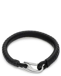 Bling Jewelry Bling Jewelry Unisex Black Wrapped Leather Bracelet Stainless Clasp 8in