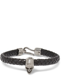 Alexander McQueen Braided Leather And Burnished Silver Tone Skull Bracelet
